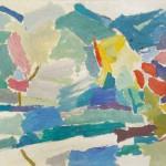 Janez Knez JUTRO 1964, olje, platno, 49,5 x 61 cm