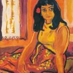 Jože Cesar SLIKARKA NADA 1972, olje, platno, 60 x 50 cm