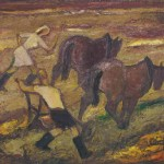 Jože Primožič Tošo ORAČI 1967, olje, lesonit, 69,5 x 75,5 cm
