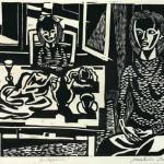 Maksim Sedej INTERIER 1973, lesorez, papir, 21 x 29 cm