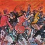 Marjan Skumavc SOBOTNI PLES 1986, pastel, karton, 71 x 101 cm