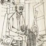 Milan Bizovičar STAREC 1966, tuš, papir, 30 x 21 cm
