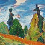 Samo Šiles POKRAJINA 1988, olje, platno, 70 x 80 cm