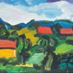 Stojan Trumič RDEČE STREHE 1972, olje, platno, 42 x 94 cm